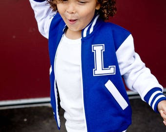 Personalized Varsity Jacket - Boys or Girls Back To School Custom Made Jackets - Best Seller Made in Canada - Monogrammed Toddler Jacket