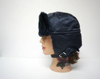 blue aviator bomber hat . small . made in USA