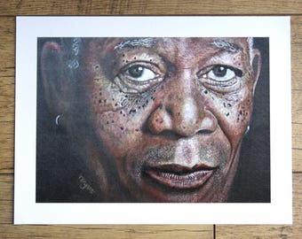 MORGAN FREEMAN print from original artwork by Tracey Bryant