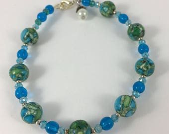 Ocean Mist Stone Bead Bracelet