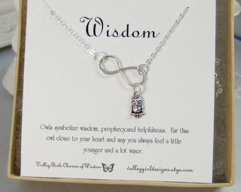 Wisdom,Necklace,Bracelet,Infinity Necklace,Owl Infinity,Silver,Owl Necklace,Owl,Infinity,Infinite,Jewelry valleygirldesigns.