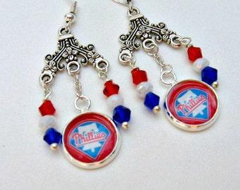 Philadelphia Phillies Earrings, Baseball Jewelry, Philadelphia Phillies Jewelry, Phillies Earrings, Phillies Baseball, Phillies Accessories