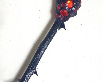 Witchcraft Wand Black Rose Branch, Quartz, and Red Rhinestones