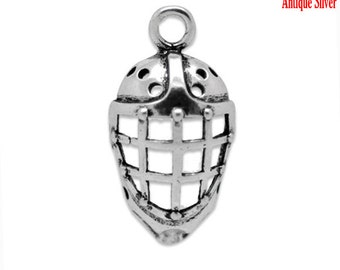4 Hockey Mask Charms, Antique Silver Tone (1U-43) NEW3