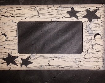 Primitive STAR Light Switch / Outlet Square Plate Cover black- ivory country rustic western wall decor  handpainted