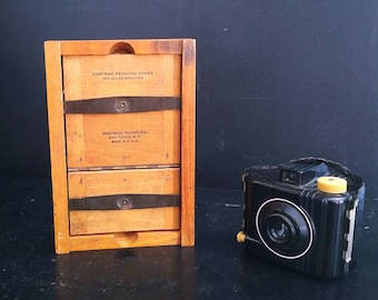 """Vintage Eastman Kodak Auto Mask Split Back Photo Printing 3 1/4"""" x 5 1/2"""" Frame and Plate, Spring Hinges, Solid Wood With Tenon Joinery"""