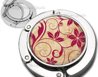 Gold and Red Swirls and Flourishes Pattern Purse Hook Bag Hanger With Double Sided Compact Mirror