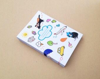 Kawaii adventure notepad - sketchbook - recyled paper - plain inside - mini diary