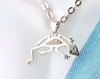 Gecko Necklace Sterling Silver