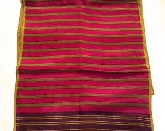 Vintage 1970s Evan Picone Collection Long Multi-Colored Striped Silk Scarf with Gold Accents