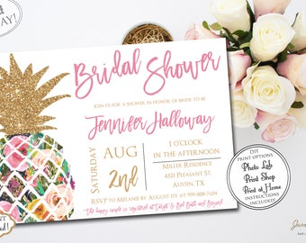 INSTANT DOWNLOAD - Gold Glitter Pineapple Tropical Bridal Shower Invitation - Floral Luau Bridal Shower - Hawaiian Bridal Shower 0771