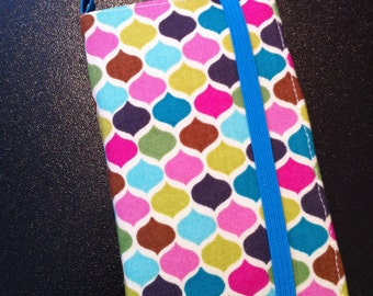 Multi colored geometric print iPhone & iPod Touch wallet case with removable gel case