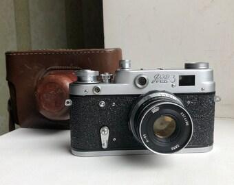 Vintage Soviet Film Camera FED 3(type A). Rangefinder Camera. USSR the 1960s Industar - I-61 lens