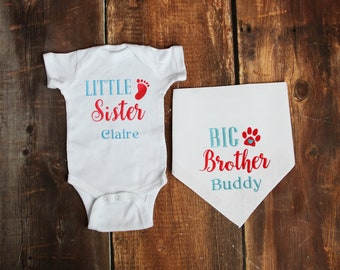 Big Brother Dog Little Sister Baby- Baby and Dog Matching Outfit- Personalized- Baby and Dog Sister Set- Big Brother Dog- Dog Baby Sibling