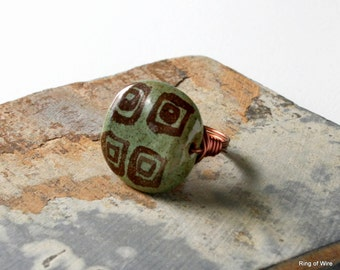 Brown Kazuri Bead Ring, Turtle Shell Ring, Moss Green Ring, Wire Wrapped Ring, Chunky Bead Ring, Fair Trade Jewelry, Kazuri Jewelry
