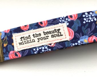 Rifle Paper Co Key Chain Wristlet Rosa in Navy Key Fob with Message Unique Wristlet