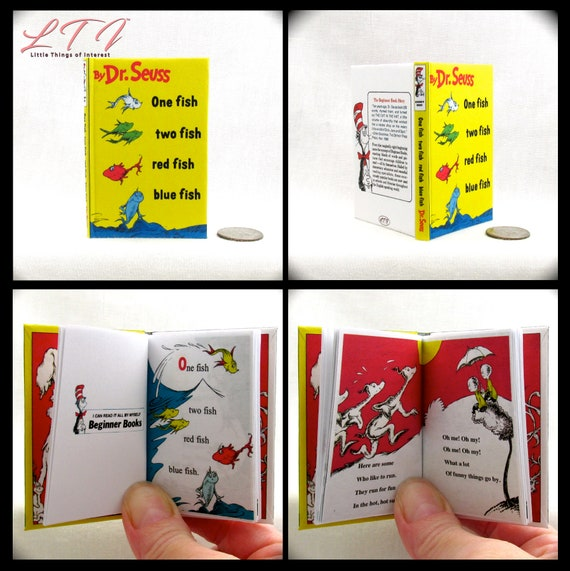 ONE FISH TWO Fish Book 1:3 Scale Readable Illustrated Book American Girl Dr. Seuss Accessories Children's Nursery 18 inch