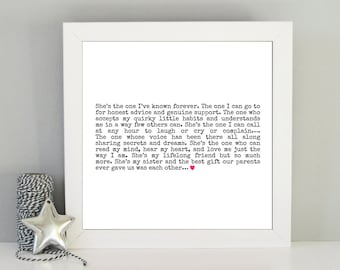 Sister gift - Best sister quote framed print - Framed sister art print - Gift idea for sister - Sister best friend - Birthday gift sister