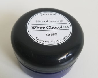 White Chocolate Mineral Sunblock 30 SPF Zinc Oxide Moisturizing 2 fl oz Travel Size Natural Sunscreen
