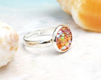 Mermaid ring, orange mermaid ring, pink mermaid scales, gift for mermaid lover, fantasy ring, mermaid scales, dragon scales,