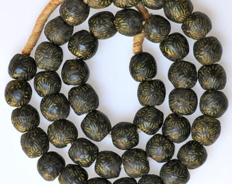 14mm African Recycled Glass Beads - Powder Glass Beads from Ghana - Black with Yellow - 24 Inch Strand