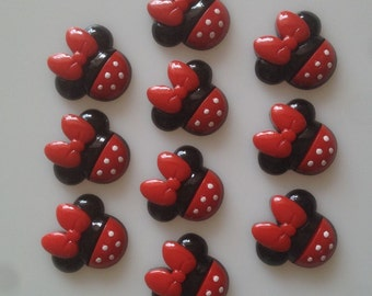 10pc Minnie Mouse Resin Cabochons Flatback Flat Back Scrapbooking Hair Bow Center Frame Card Making Crafts Embellishments DIY