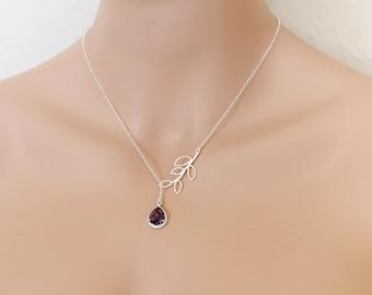 Amethyst Leaf Lariat, February Birthstone, Amethyst Necklace, Amethyst Pendant, Amethyst Jewelry, Lariat Necklace, Lariat Jewelry, Weddings