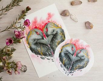 Raven Heart Postcard and Sticker Set