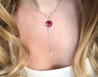 Ruby, Moonstone + Silver Lariat |  Silver Plated | Rosary Chain | Bridal | Bridesmaid | Delicate | Feminine | Wedding | Lasso | Y necklace