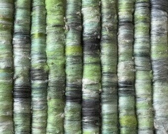 1 oz Punis Rolags Merino & Silk Tapestry Fine Merino Wool Spinning and Felting Fibre Gray Green Olive Spring Bamboo