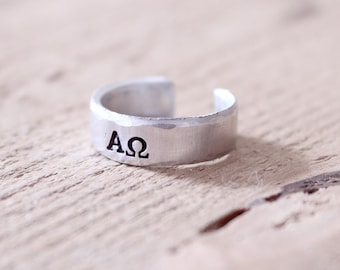 Greek Letters Ring, Hand Stamped Ring Silver