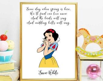 Snow White Printable, Snow White Party, Disney Princess, Snow White Art, Nursery Girl Decor, Disney Quotes, Disney Printables