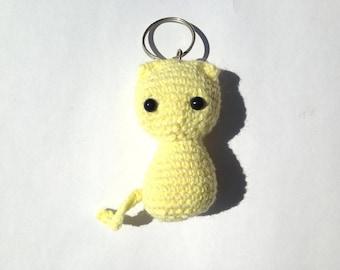Keychain cat yellow crochet