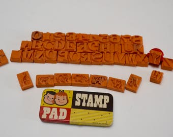 vintage alphabet, number, animal stamp kit: rubber stamps and ink pad