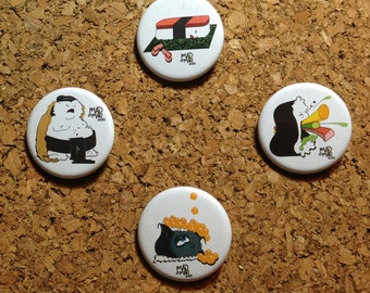 Set of 4: Mad Maki Works Wacky Sushi Character Collectible Pins (1.5 inch Buttons)