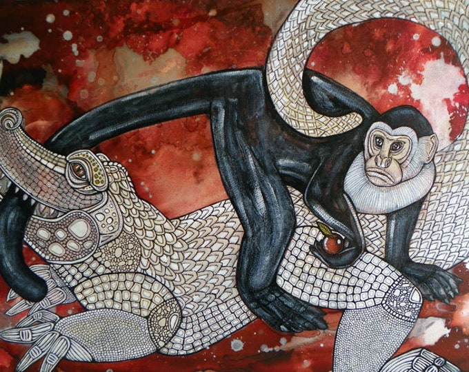 "Original ""Monkey's Tale"" painting by Lynnette Shelley"