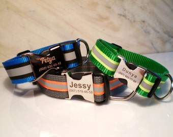 Personalized Reflective dog collar with laser engraved Buckle with a Nylon tape of different colors