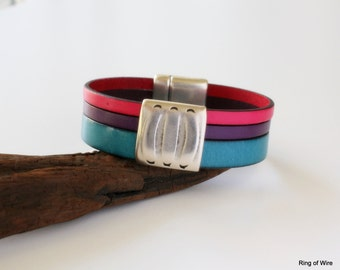 Turquoise Leather Bracelet, Silver Magnetic Clasp, Pink Leather Cuff, Purple Leather Cuff, Flat Leather Cuff, Leather Cuff Bracelet