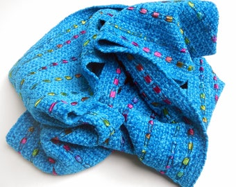 Turquoise chenille scarf handwoven 6 by 76 inches