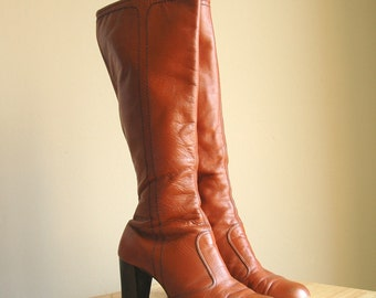 Vintage Boots, size 6.5, 1970s Rust Leather heeled