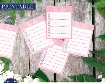 TO DO heart checklist printable planner stickers in pink. Full boxes with heart checkboxes for Erin Condren and Happy planner.
