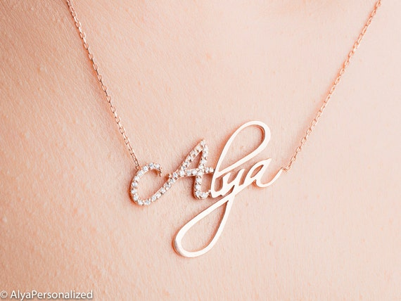 personalized name necklace personalized jewelry rose gold. Black Bedroom Furniture Sets. Home Design Ideas