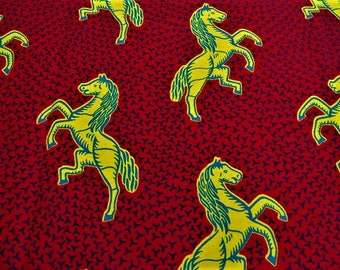 FABRIC African WAX fabric pattern multicolored horses