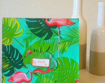 "Snack bag ""Paul"". Lunch bag. snack bag. snack bag. Pink Flamingo and tropical design. hand stitched"