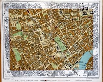 London Vintage Street Plan KENSINGTON EARLS Court FULHAM Antique Map c1910