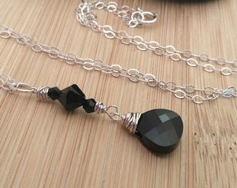 Black Swarovski Crystal Necklace Boho Beaded Necklace Black Crystal Pendant Wire Wrapped Sterling Silver Necklace Long Pendant