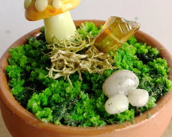 Topaz Colored Marbled Glow In The Dark Polymer Clay Miniature Toadstool Mushroom Art Terrarium - Handmade Home Decor Art w/ Quartz Crystal