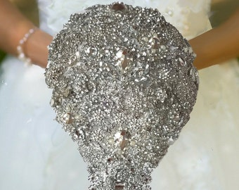 Tear Drop Brooch Bouquet, Cascading Bouquet, Silver or Gold Brooches,  Full Price 150.00 and up, Rush Orders Welcome! Reserve with a deposit