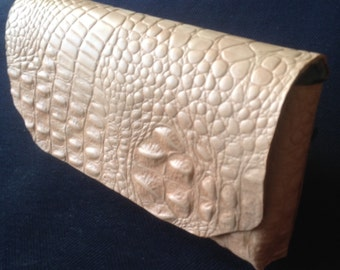 Handcrafted Veg Tan Leather Clutch With Handstrap