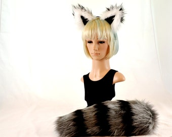 Raccoon Ears Headband and Tail Combo